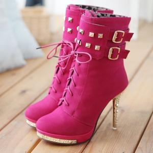 cute buckle boots side zipper high ..
