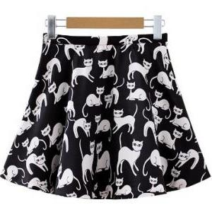 cute women dresses cat prints short..