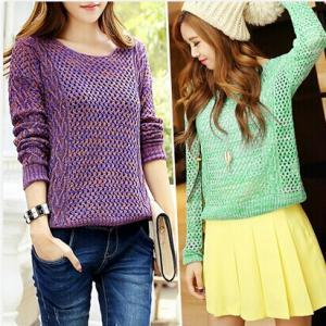 Retro hollow knit sweater