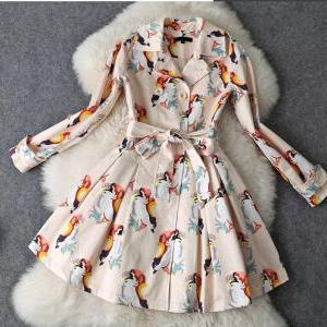 Print lace-up dress coat