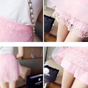 Lace high-waisted skirts