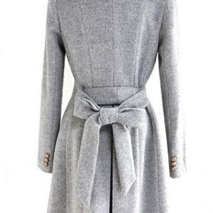 Elegant Grey Winter Button Down Lon..
