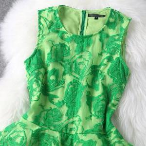 Flower Embroidery Tank Top Mesh Dre..