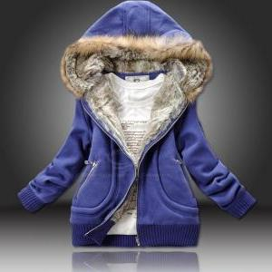 Artificial Wool Hooded Zipper Women..