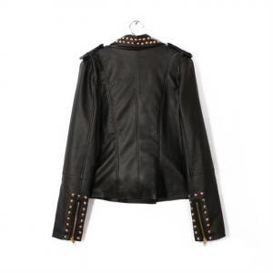 Fashion Rivet Long Sleeve PU Leathe..