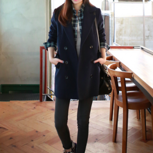 Navy Women Casual Office Chic Trend..