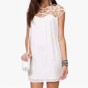 White Shift Dress With Cut Out Neck..