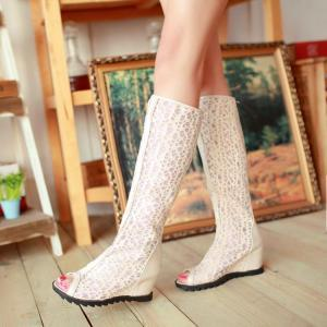Elegant Peep Toe Knee High Wedge He..