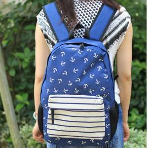 New Navy Anchor Striped Print Schoo..