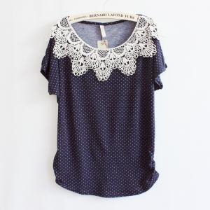 Crochet Stitching Bat Sleeve T-shir..