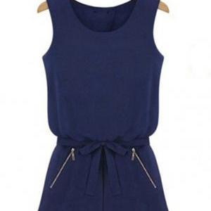 Slim Solid Color Sleeveless Fashion..