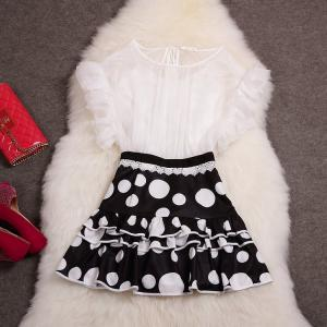 Stitching Polka Dot Skirt Short-sle..