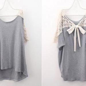 Grey Loose Casual T-shitr Batwing S..