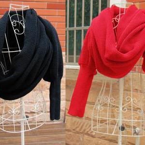 Loose Scarf Neck Warmerwith Sleeves
