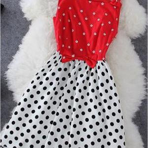 Polk Dot Dress With Red Bows