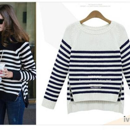 Black and White Striped Crew Neck K..