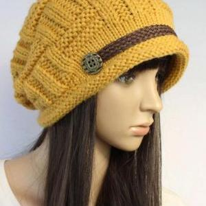Yellow Slouchy Knitted Hat Cap Bean..