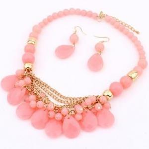 Pastel Pink Faceted Bead Statement ..