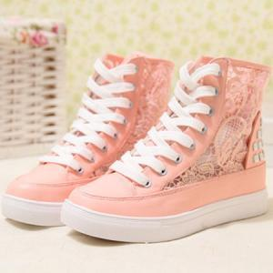 Lace Mesh Rivets High Top Lace Up P..