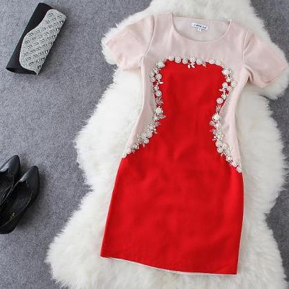 Fashion Beaded Short Sleeve Dress E..