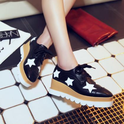 Preppy Fashion Girls Wedge Heels La..