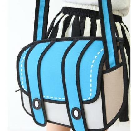 3D Blue Cartoon Handbag Shoulder Ba..