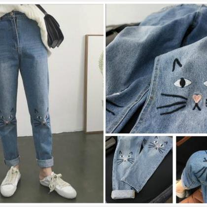 Free shipping embroidery cat high w..
