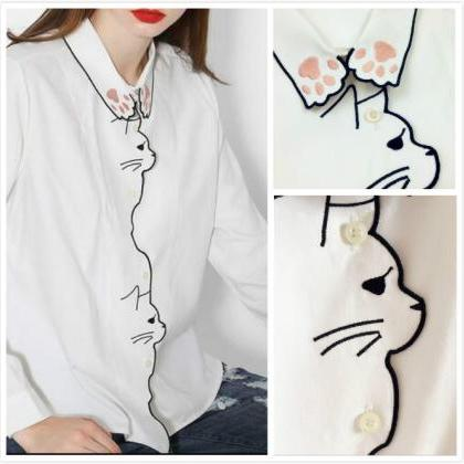 White Cat Embroidered Button-down L..