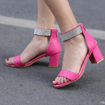 Glitter Rhinestone Zipper Women's Open Toe Block Mid Heel Pumps Dress Sandals