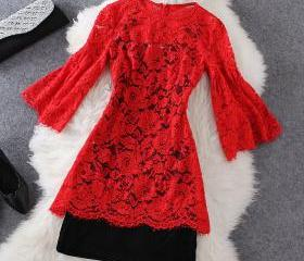 Fashion Red Lace Dre..