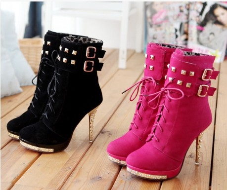 cute buckle boots side zipper high heel wedge boots