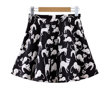 cute women dresses cat prints short skirts female dress