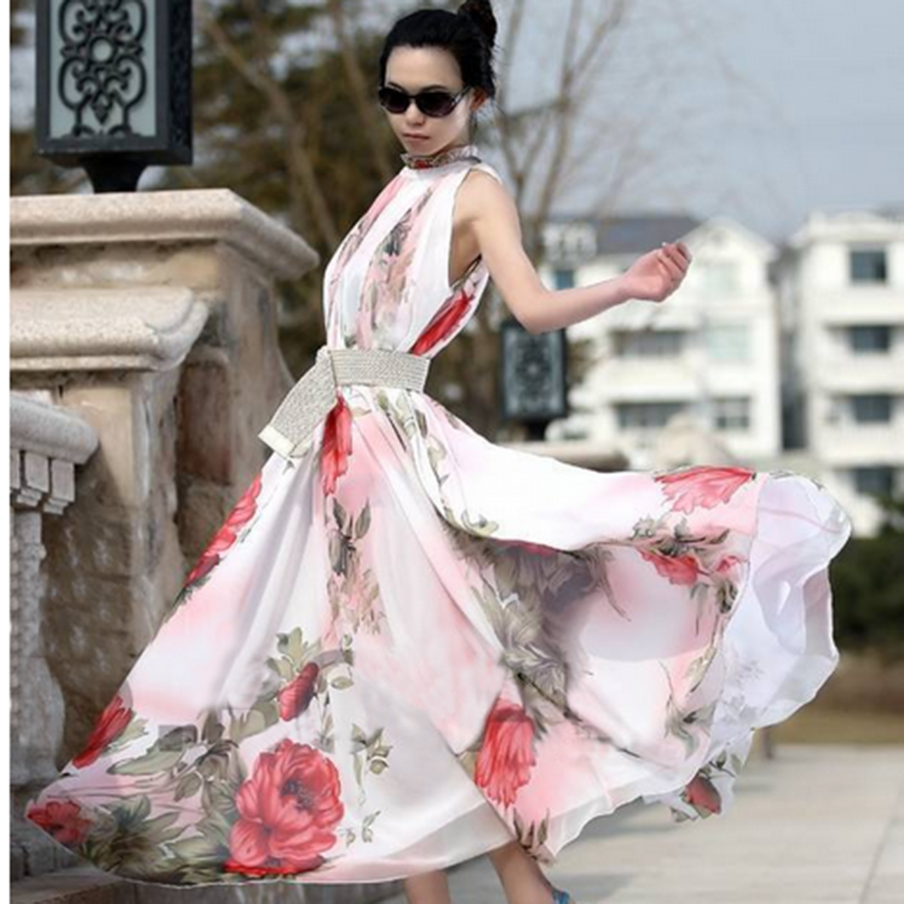 420fc9c2aaf47 Sexy Women s Maxi Sleeveless Floral Casual Summer Beach Party Long Chiffon  Dress