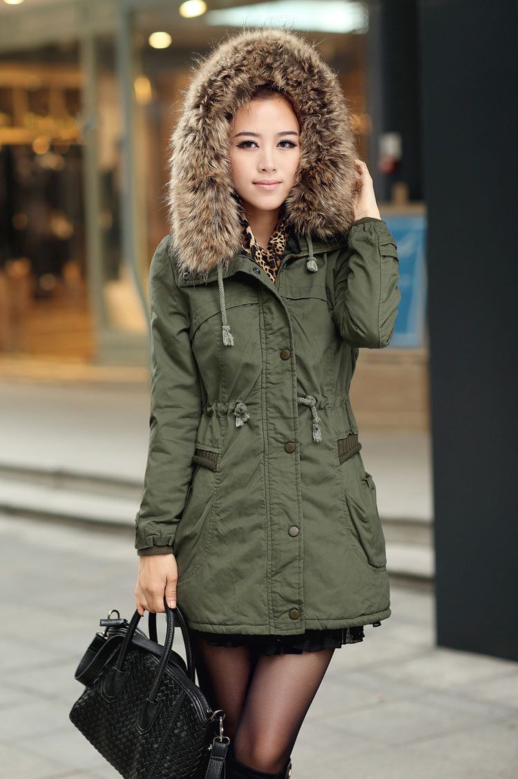 2566b0d683b2b Green Womens Winter Coats Faux Fur Lining Parka With Fur Hood