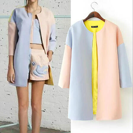 Women Autumn Winter Three Quarter Sleeve Mix Color Cardigan Jacket Coat Outerwear
