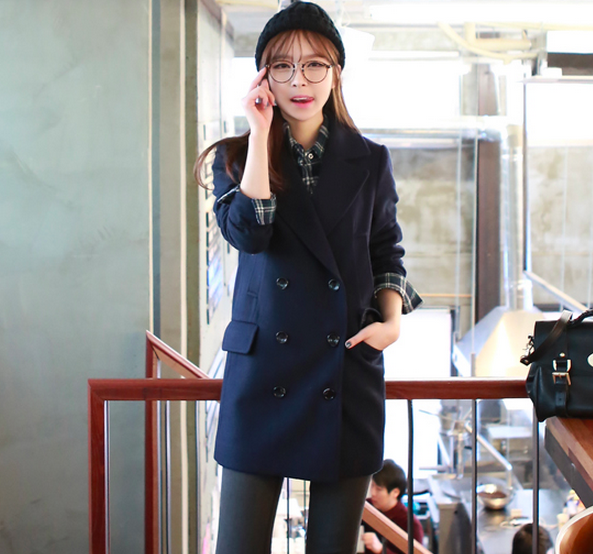 Navy Women Casual Office Chic Trendy Modern Look Long Jacket Winter Autumn Coat Outerwear