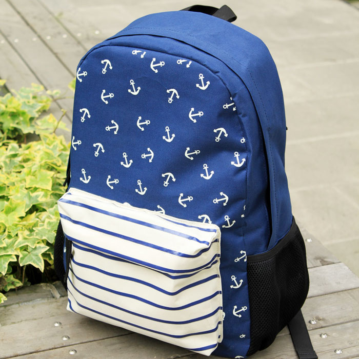 New Navy Anchor Striped Print School Bag&Backpacks