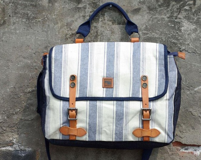 Navy Style Stripe Print Vintage Handbag Leather Washed Canvas Bag For Women Men Messenger Bag Vintage