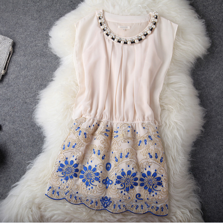 Embroidered Flowers Slim Temperament Organza Dress