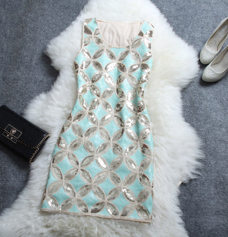 Embroidered Sequined Beading Elegant Dress