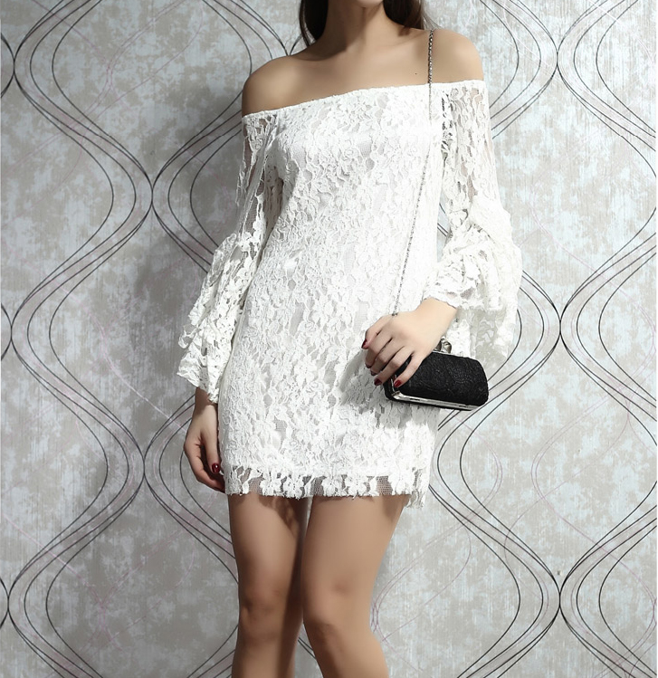 Fashion Fringed Lace Dress The Horn Long Sleeve
