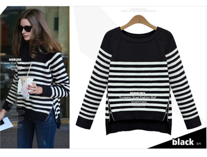 Black and White Striped Crew Neck Knitted Sweater Featuring High Low Hem and Zipper Detailing