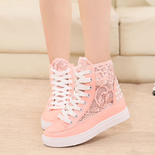 Lace Mesh Rivets High Top Lace Up Platform Sneaker