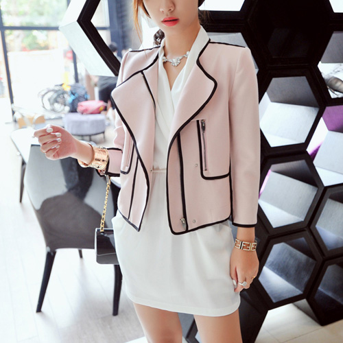Fashion Contrast Color Zipper Motorcycle Jacket Coat