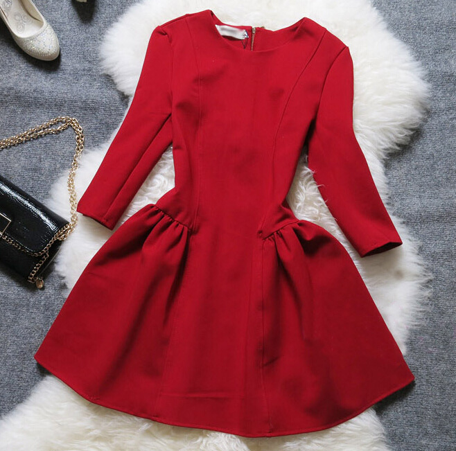 Fashion Long Sleeve Multicolor Dress