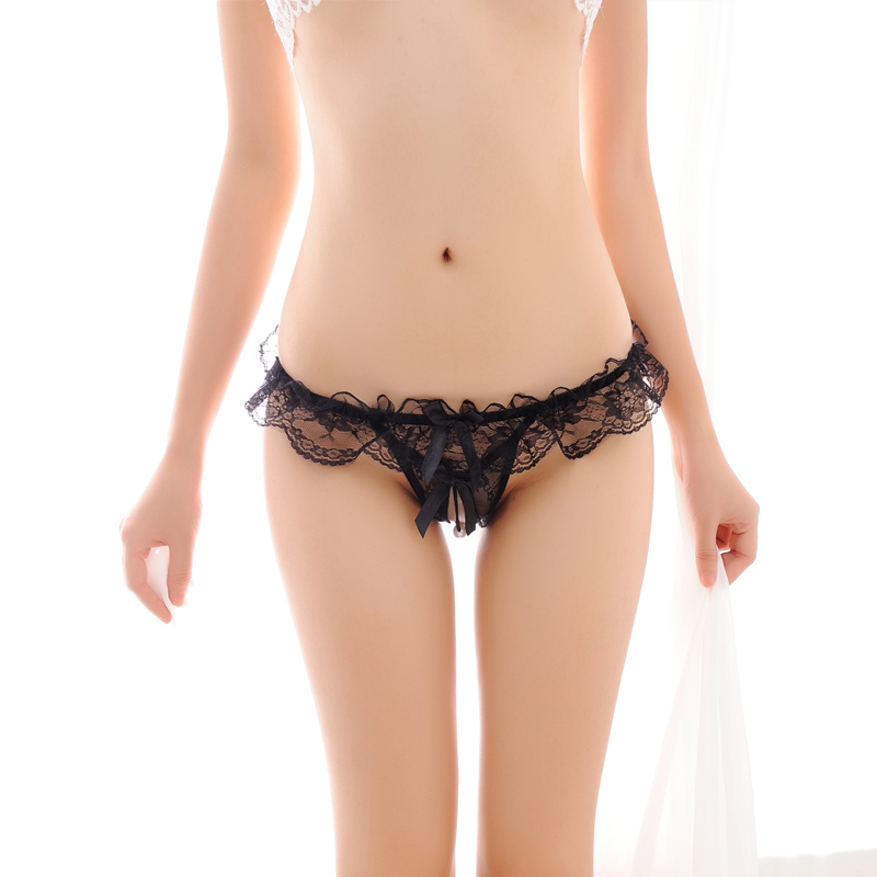 Sexy Briefs underwear Women hollow out open fork Massage pearl thong Tpants game T pants female temptation