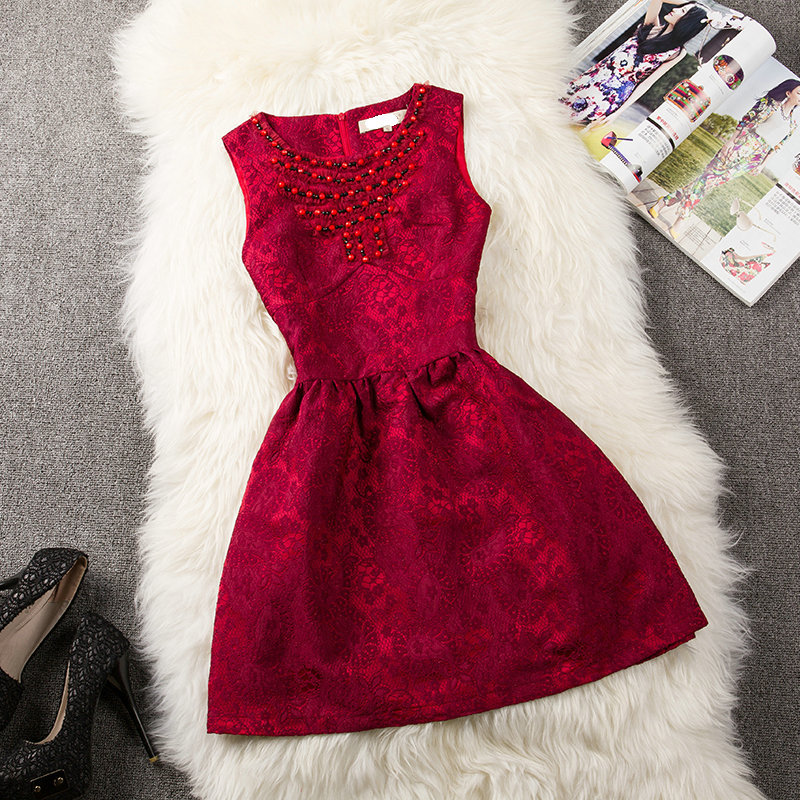 Slim Lace Beads Dress WQ724E