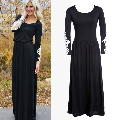 Sexy Elegant Lace Spliced Long Sleeve Round Neck Maxi Dress