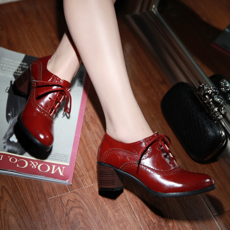 e56867b0ef3a Brogue Womens Oxford Lace Up Wing Tip Retro Mid Chunky Heel Slip On Shoes  Red