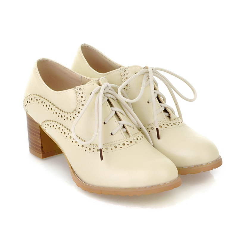 Women Oxfords High Block Heels Shoes Wingtip Lace Up Pumps Brogue Retro Boots